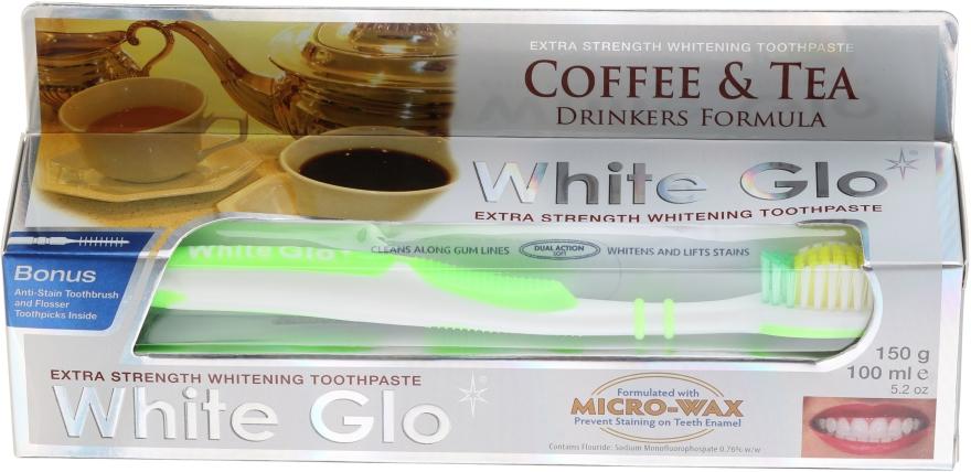 Zahnpflegeset für Kaffee- und Teetrinker - White Glo Coffee & Tea Drinkers Formula Whitening Toothpaste (Zahnpasta 100ml + Zahnbürste grün) — Bild N1