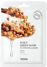 Düfte, Parfümerie und Kosmetik Tonisierende Tuchmaske mit Kollagen - Yadah Daily Green Mask Natto Collagen