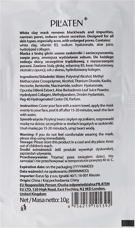 Peel-Off-Maske gegen Akne mit weißem Ton - Pilaten White Clay Mask Blackhead Extraction Acne Removal (Probe) — Bild N2