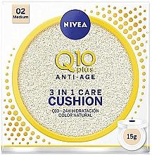 Düfte, Parfümerie und Kosmetik 3in1 Pflegende und feuchtigkeitsspendende Anti-Aging Cushion für das Gesicht mit Coenzym Q10 - Nivea Q10 Plus Anti-Aging Radiance BB Cushion
