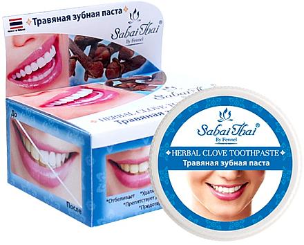 Fluoridfreie natürliche und aufhellende Zahnpasta mit Nelkenöl - Sabai Thai Herbal Clove Toothpaste — Bild N1