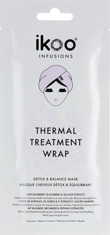 Entgiftende und regenerierende Haar- und Kopfhautmaske mit Blaubeer-, Brombeer- und Seetang-Extrakten - Ikoo Infusions Thermal Treatment Wrap