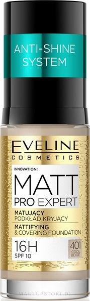 Mattierende und langanhaltende Foundation LSF 10 - Eveline Cosmetics Matt Pro Expert — Bild 401 - Cool Beige