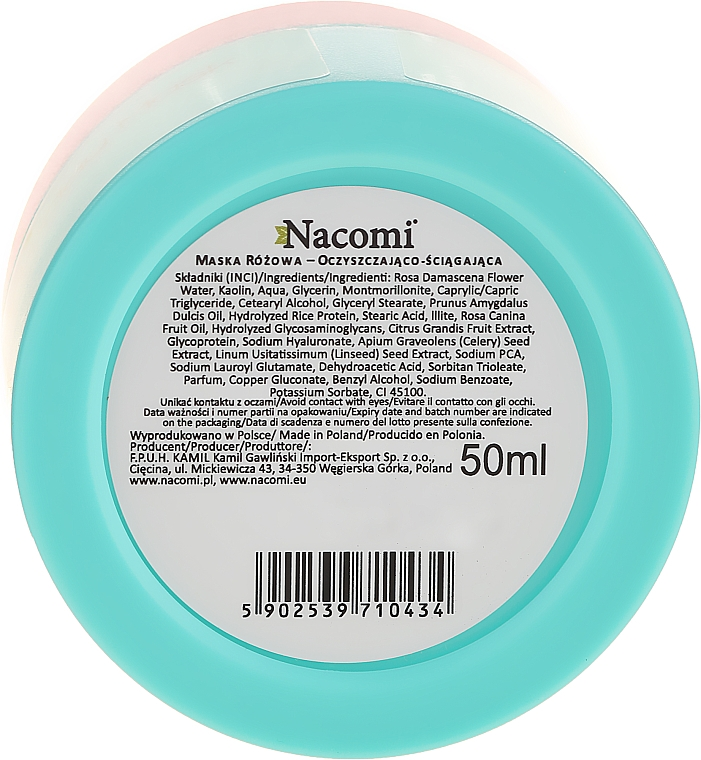 Straffende Gesichtsmaske mit rosa Ton - Nacomi Pink Clay Mask — Bild N2