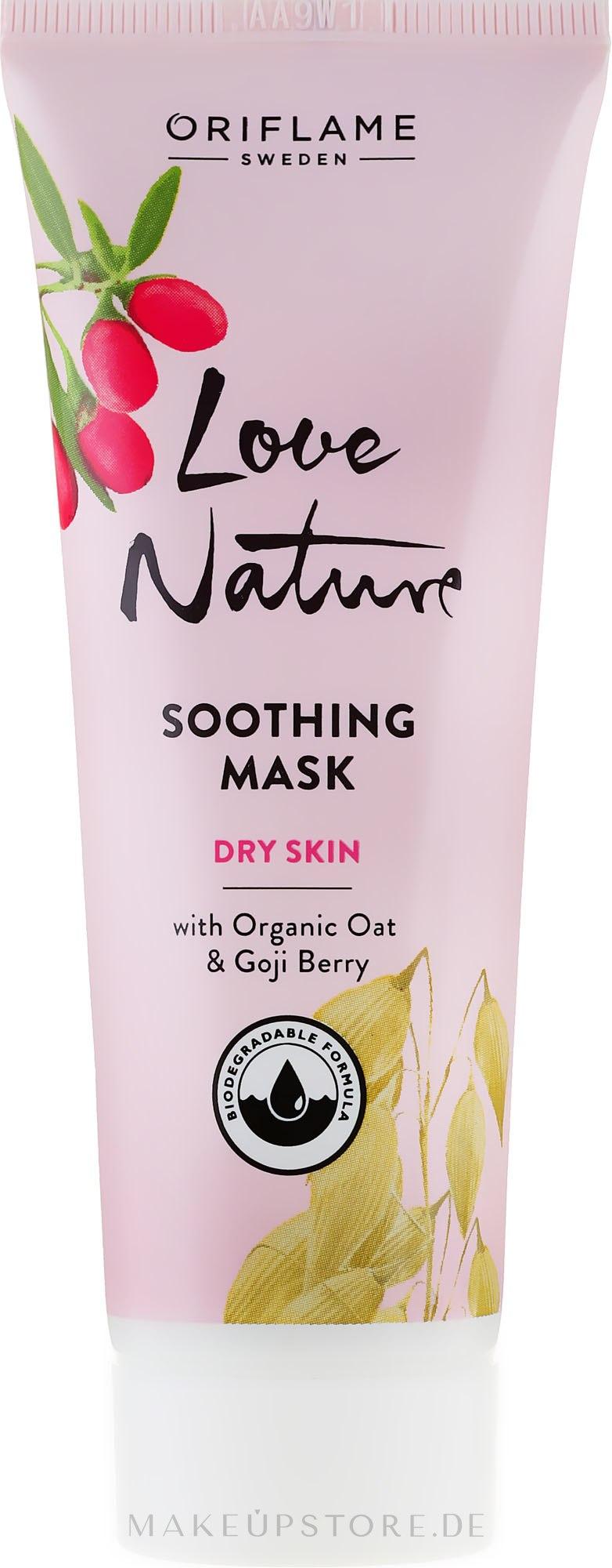Beruhigende Gesichtsmaske mit Bio Haferextrakt und Goji-Beere - Oriflame Love Nature Soothing Mask — Bild 75 ml