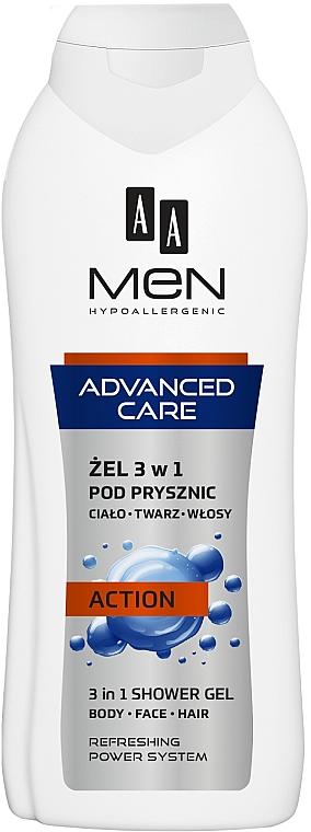 3in1 Duschgel für Körper, Gesicht und Haar Action - AA Men Advanced Care 3 in 1 Shower Gel Action — Bild N1