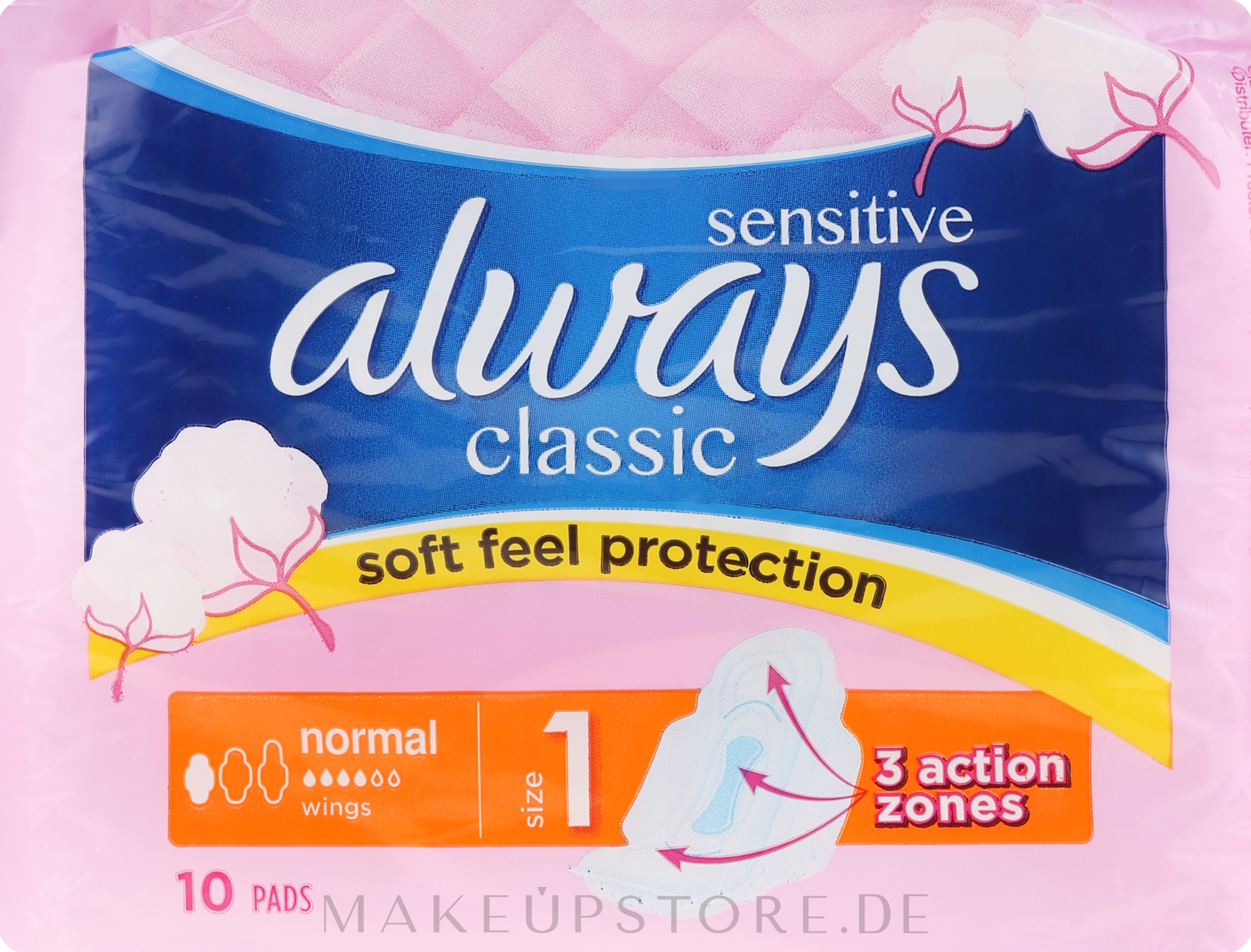 Damenbinden mit Flügeln 10 St. - Always Classic Normal Sensitive — Bild 10 St..
