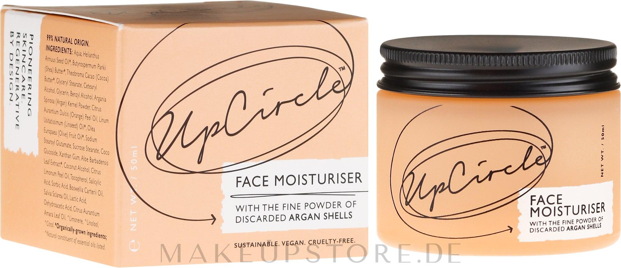 Feuchtigkeitsspendende Gesichtscreme mit Argan-Schalenpulver - UpCircle Face Moisturiser With Argan Powder — Bild 50 ml