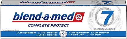 Zahnpasta Complete Protect 7 Crystal White - Blend-a-Med Complete Protect 7 Crystal White Toothpaste — Bild N1