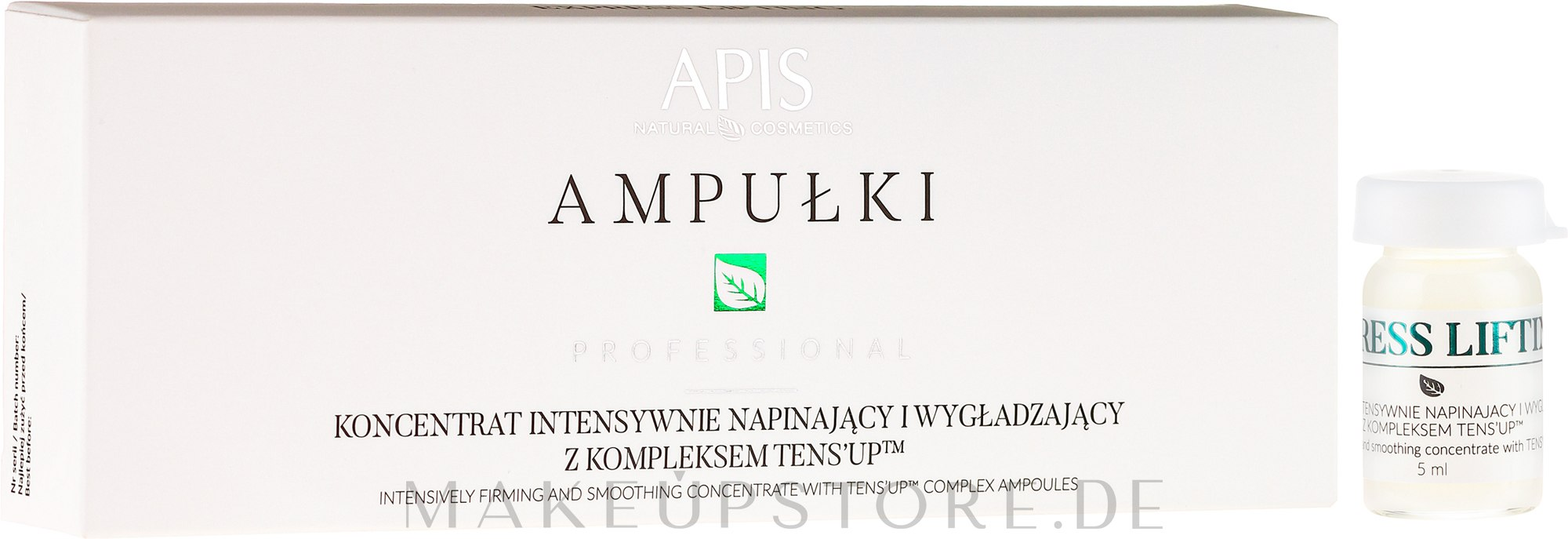 Gesichtskonzentrat mit Lifting-Effekt - APIS Professional Concentrate Ampule Ten's Up — Bild 5 x 5 ml