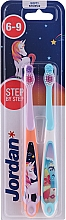 Düfte, Parfümerie und Kosmetik Kinderzahnbürste 6-9 Jahre weich Step By Step 2 St. Einhorn+Delphin - Jordan Step By Step Soft