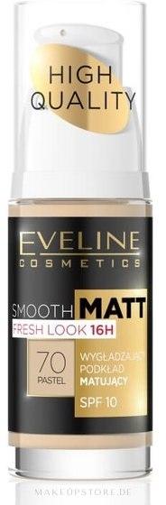 Langanhaltende und glättende Foundation LSF 10 - Eveline Cosmetics Smooth Matt SPF10 — Bild 70 - Pastel