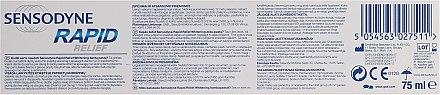Aufhellende Zahnpasta für empfindliche Zähne - Sensodyne Rapid Relief Whitening — Bild N2