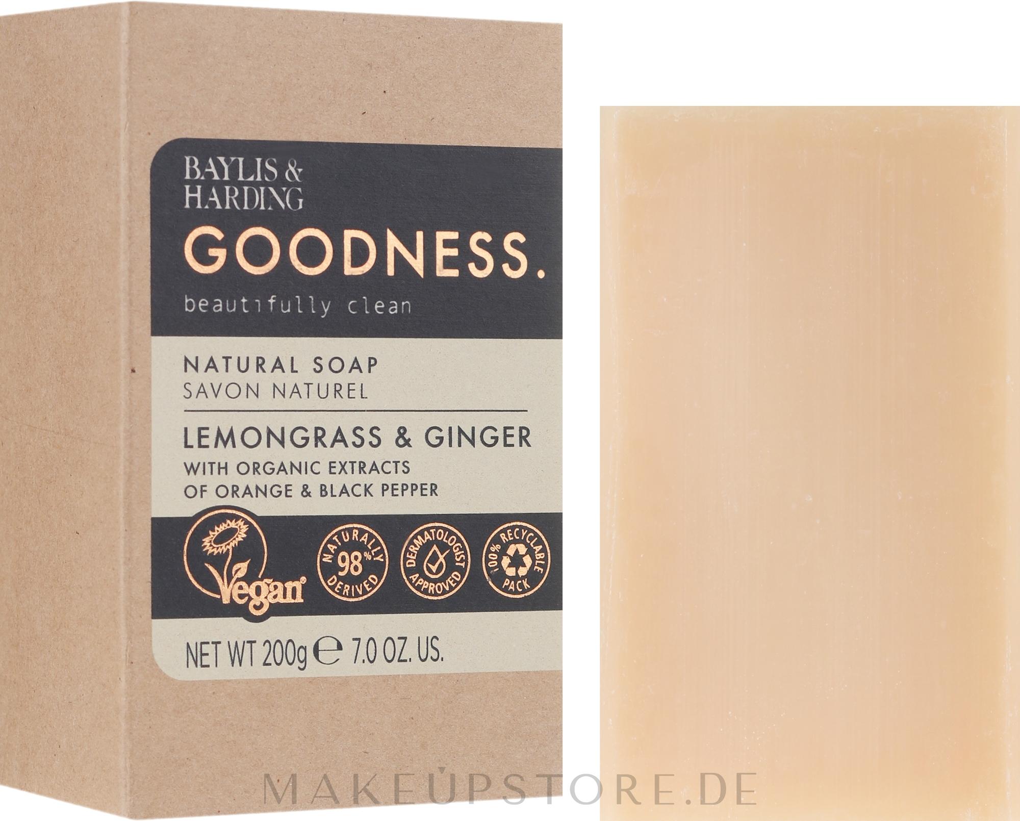 Naturseife Lemongrass & Ginger - Baylis & Harding Goodness Sea Lemongrass & Ginger Natutal Soap — Bild 200 g