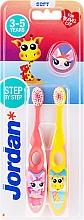 Düfte, Parfümerie und Kosmetik Kinderzahnbürste 3-5 Jahre weich Step By Step rosa, gelb mit Giraffe 2 St. - Jordan Step By Step Soft Clean