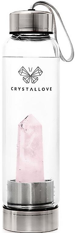 Wasserflasche mit rosa Quarzkristall 500 ml - Crystallove — Bild N1