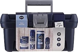 Düfte, Parfümerie und Kosmetik Gesichts- und Körperpflegeset - Nivea Men Tech Master (After Shave Balsam 100ml + Rasierschaum 200ml + Duschgel 250ml + Deo Roll-on Antitranspirant 50ml)