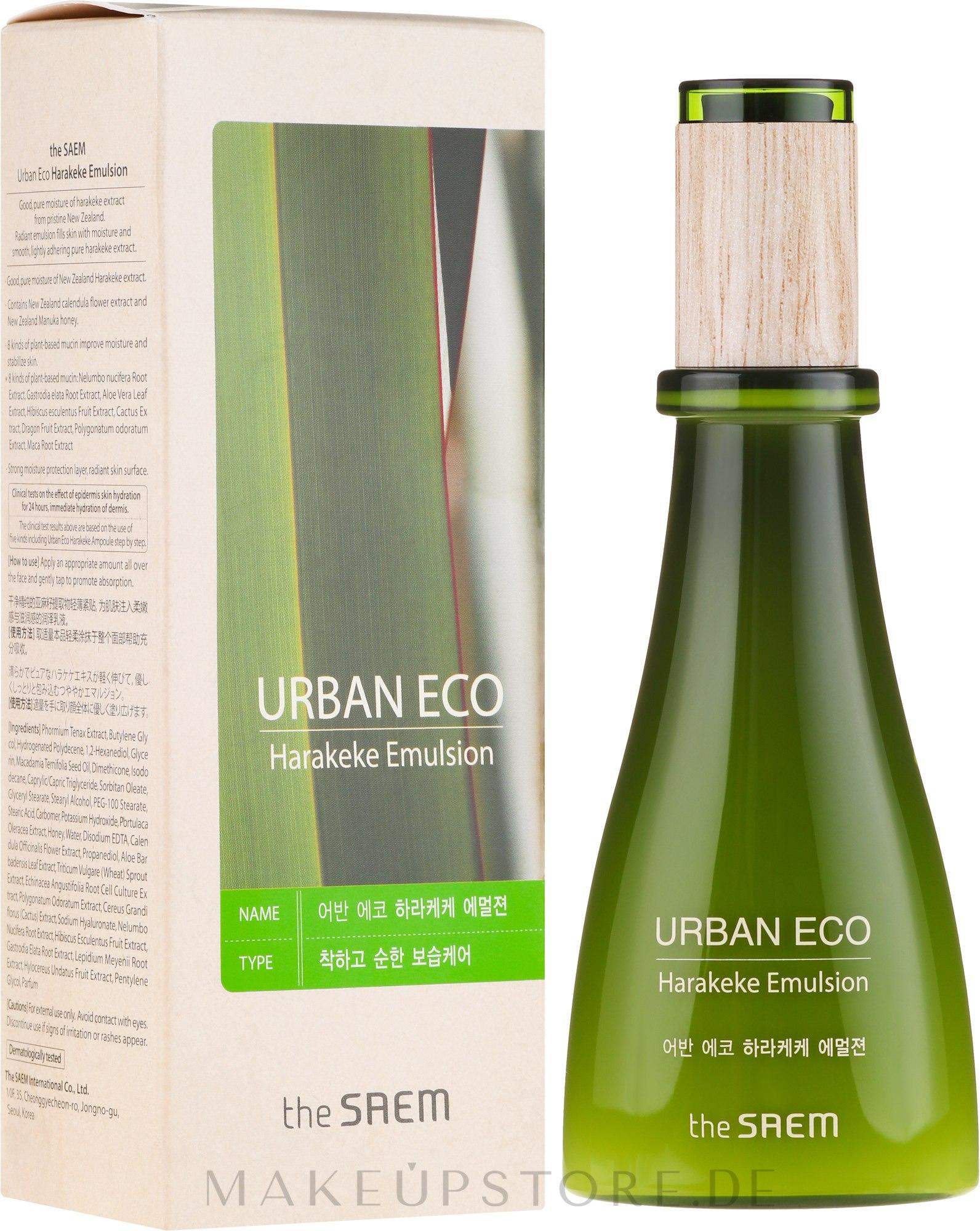 Feuchtigkeitsspendende Gesichtsemulsion mit 83% Neuseeländer Flachs Extrakt - The Saem Urban Eco Harakeke Emulsion — Bild 140 ml