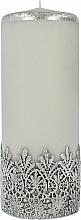 Düfte, Parfümerie und Kosmetik Dekorative Kerze mit Spitzenmuster grau 9x24 cm - Artman Lace Christmas