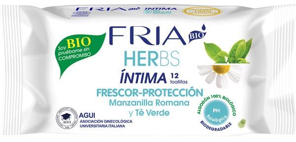 Erfrischende Tücher für die Intimhygiene mit römischer Kamille und grünem Tee - Fria Herbs Intimate Hygiene Wipes — Bild N1