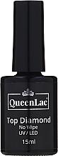 Düfte, Parfümerie und Kosmetik Gel Nagelüberlack ohne Dispersionsschicht mit holografischem Glitter - QueenLac Top Diamond No Wipe UV/LED
