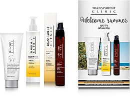 """Düfte, Parfümerie und Kosmetik Körperpflegeset - Transparent Clinic """"Welcome Summer"""" (Trockenöl 75ml + Augencreme 18ml + Körperpeeling 200ml)"""