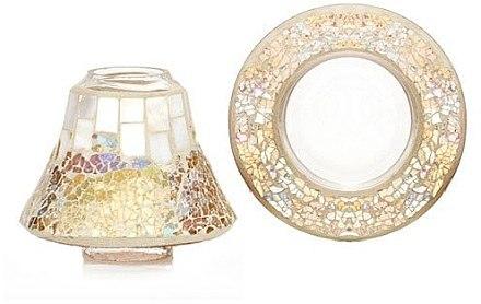 Lampenschirm und Tablett für Yankee Candle Duftkerzen im Glas - Yankee Candle Gold and Pearl Mosaic Small Set — Bild N1