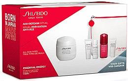 Düfte, Parfümerie und Kosmetik Gesichtspflegeset - Shiseido Essential Energy (Gesichtscreme 50ml + Gesichtsschaum 5ml + Gesichtslotion 7ml + Gesichtskonzentrat 10ml + Augencreme 5ml + Kosmetiktasche)