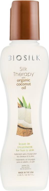 Haar- und Kopfhautöl mit Kokosnuss ohne Ausspülen - BioSilk Silk Therapy With Organic Coconut Oil Leave In Treatment For Hair & Skin — Bild N2