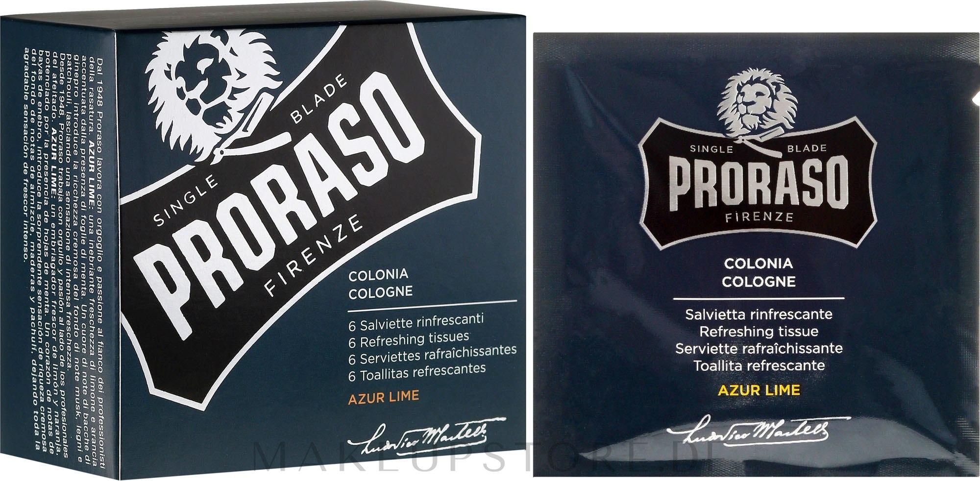 Erfrischende Feuchttücher für Bart und Gesicht mit Azur Limettenduft - Cologne Refreshing Tissues Azur Lime — Bild 6 St..