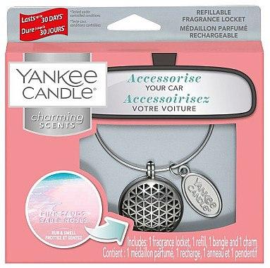 Autoduftanhänger - Yankee Candle Pink Sands Geometric Charming Scents Starter Kit (Medaillon + Duftstein + Charm-Anhänger + Band) — Bild N1