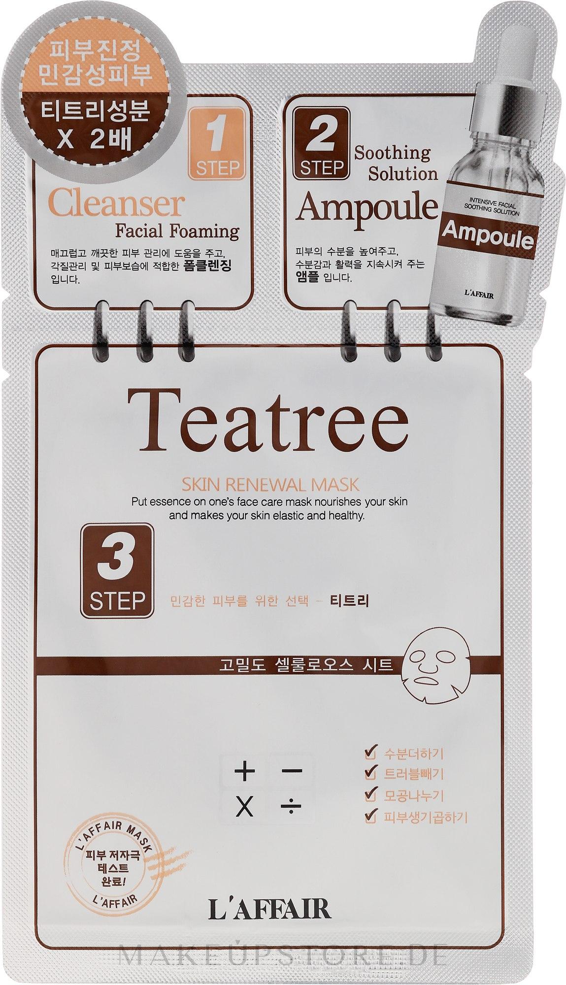 3-Schritt-Gesichtsmaske mit Teebaumöl - Rainbow L'Affair 3-Steps Skin Renewal Face Mask Teatree — Bild 28 ml
