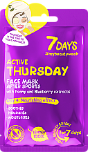 Düfte, Parfümerie und Kosmetik Nährende Gesichtsmaske mit Pfingstrosen- und Blaubeere-Extrakt - 7 Days Active Thursday