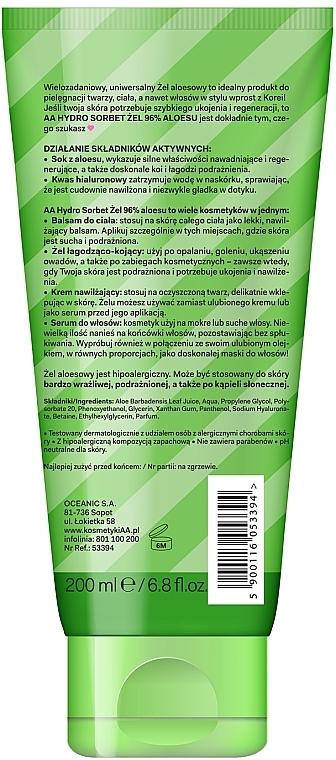 Gesichts-, Körper- und Haargel mit 96% Aloe Vera - AA Hydro Sorbet Gel (in Tube) — Bild N2