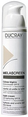 Leichte Gesichtscreme gegen Pigmentflecken mit Vitamin C und Niacinamid SPF 15 - Ducray Melascreen Eclat Lightening Light Cream SPF15 — Bild N1