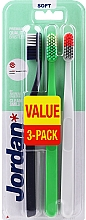 Düfte, Parfümerie und Kosmetik Zahnbürste weich Clean Smile schwarz-grau, grün, grau-orange 3 St. - Jordan Clean Smile Soft