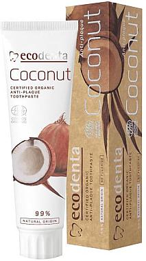 Fluoridfreie Zahnpasta gegen Zahnbelag mit natürlichem Kokosöl und Zinksalz - Ecodenta Anti-Plaque Toothpaste Coconut — Bild N1
