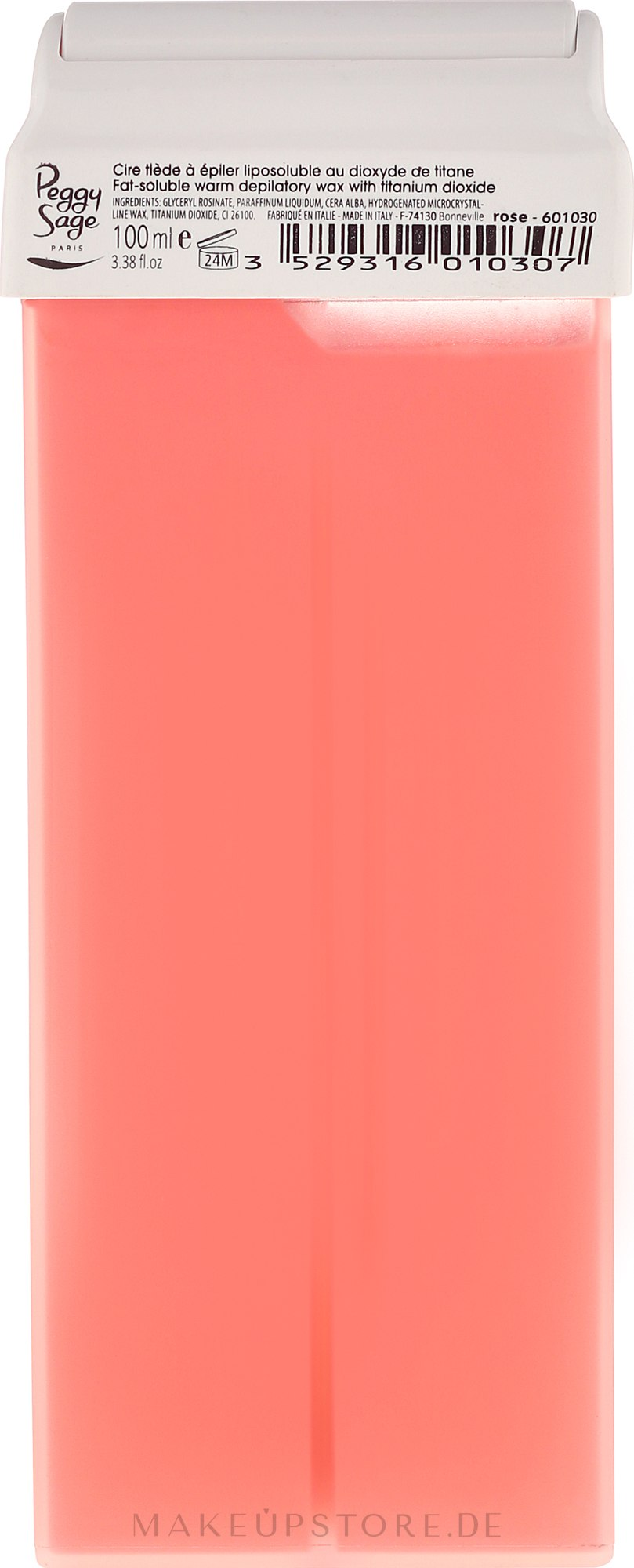 Breiter Roll-on-Wachsapplikator für den - Peggy Sage Cartridge Of Fat-Soluble Warm Depilatory Wax Rose — Bild 100 ml