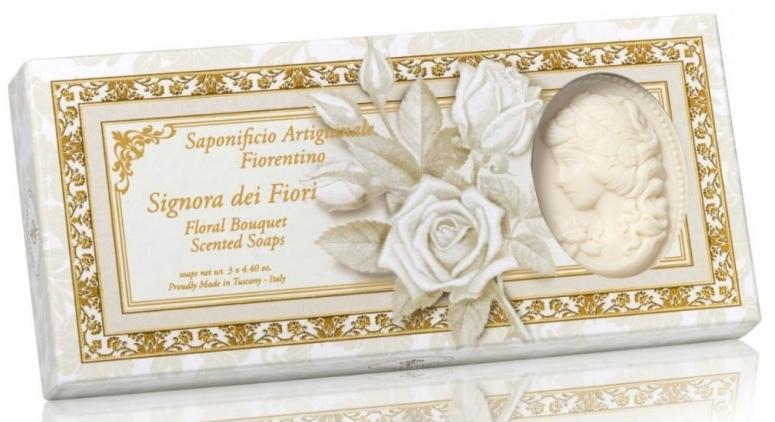 Naturseifen-Geschenkset - Saponificio Artigianale Cameo Soap Floral Bouquet Donatello Collection (3x125g) — Bild N1