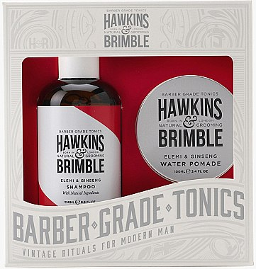 Haarpflege Geschenkset - Hawkins & Brimble Gift Set (Shampoo mit Ingwer 250ml + Haarpomade auf Wasserbasis 100ml) — Bild N1