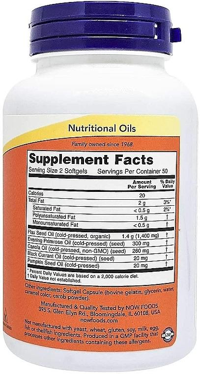 Nahrungsergänzungsmittel Omega 3-6-9 1000 mg für schöne Haut und Immunität - Now Foods Omega 3-6-9 — Bild N4