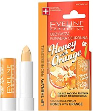 Düfte, Parfümerie und Kosmetik Pflegender und schützender Lippenbalsam mit Honigextrakt und Orangenbutter - Eveline Cosmetics Lip Therapy Nourishing Lip Balm Honey And Orange