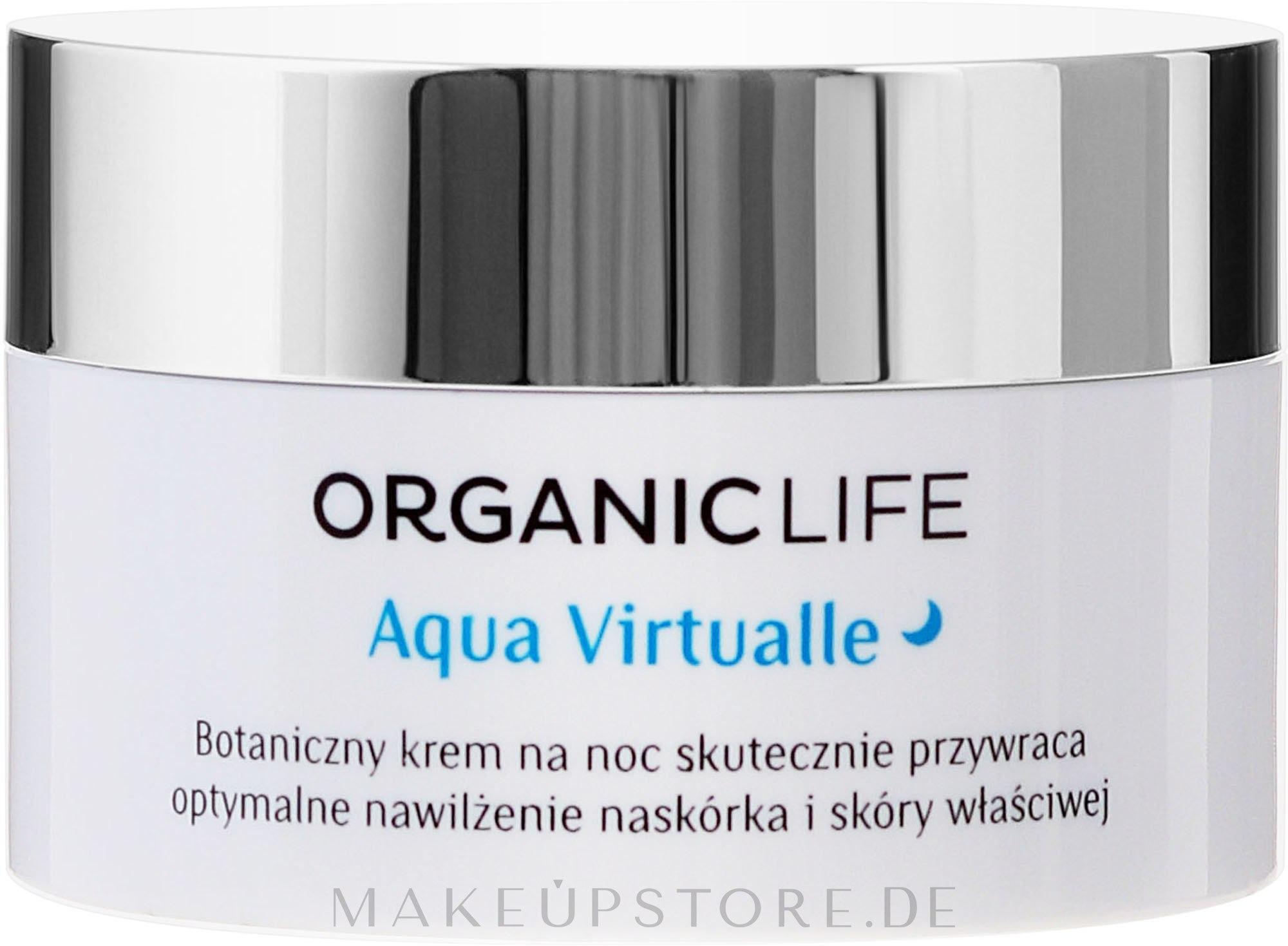 Bio fechtigkeitsspendende Nachtcreme - Organic Life Dermocosmetics Aqua Virtualle Moisturising Night Cream — Bild 50 ml