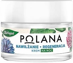 Düfte, Parfümerie und Kosmetik Feuchtigkeitsspendende und regenerierende Nachtcreme mit Kornblume und Hafer - Polana