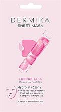 Düfte, Parfümerie und Kosmetik Lifting-Tuchmaske mit Rosenhydrolat - Dermika Sheet Mask