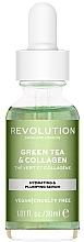 Düfte, Parfümerie und Kosmetik Feuchtigkeitsspendendes Anti-Falten Gesichtsserum mit grünem Tee, Kollagen und glitzernden grünen Pigmenten - Revolution Skincare Green Tea And Collagen Serum