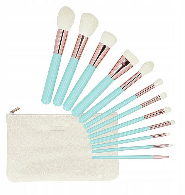 Make-up Pinselset mit Etui 12-tlg. türkis - Tools For Beauty MiMo Turquoise Set — Bild N1