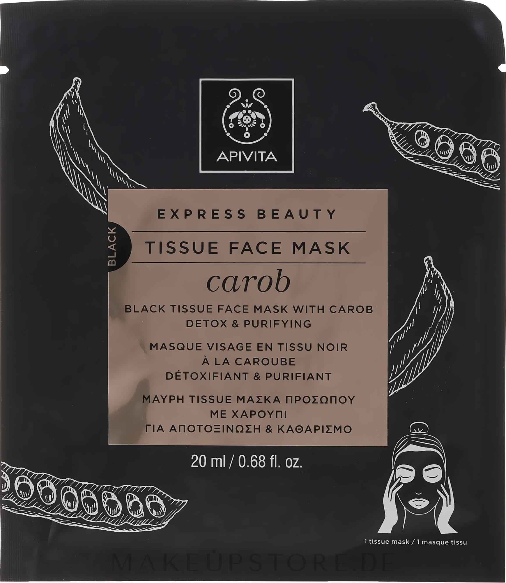 Entgiftende und reinigende Tuchmaske mit Johannisbrot - Apivita Express Beauty Tissue Face Mask Carob — Bild 20 ml