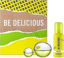 Düfte, Parfümerie und Kosmetik Donna Karan DKNY Be Delicious - Duftset (Eau de Parfum 100ml + Duschmousse 100ml + Eau de Parfum Mini 7ml)