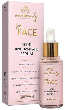 Feuchtigkeitsspendendes Anti-Falten Gesichtsserum mit Hyaluronsäure - One&Only Cosmetics For Face&Neckline 100% Hyaluronic Acid Serum — Bild N1
